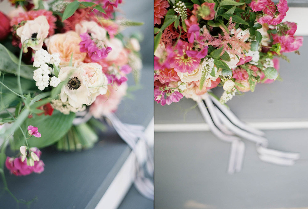 poppies and peonies and striped ribbon