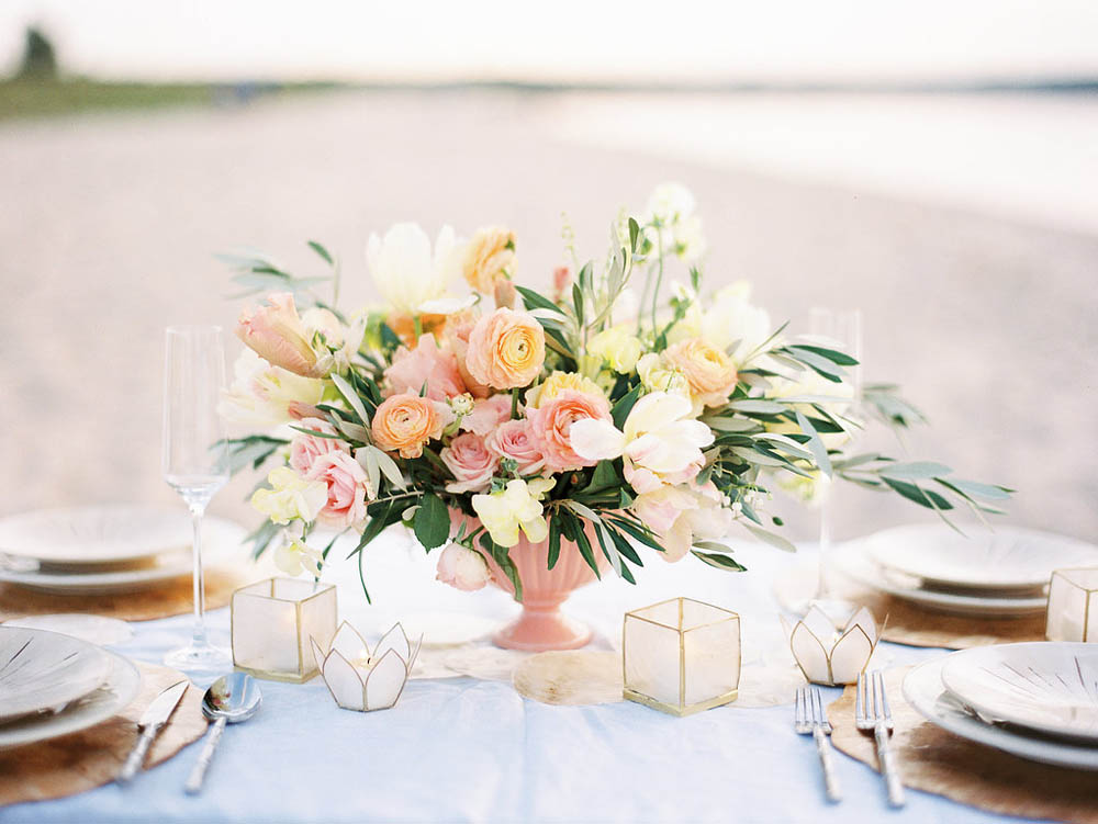 pastel sunset wedding centerpiece