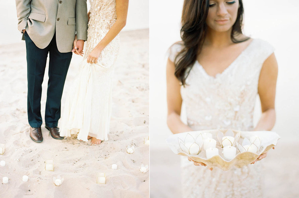 understated votive and shell wedding details