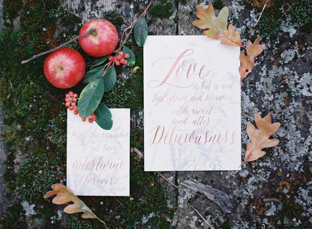 red modern calligraphy invitation suite