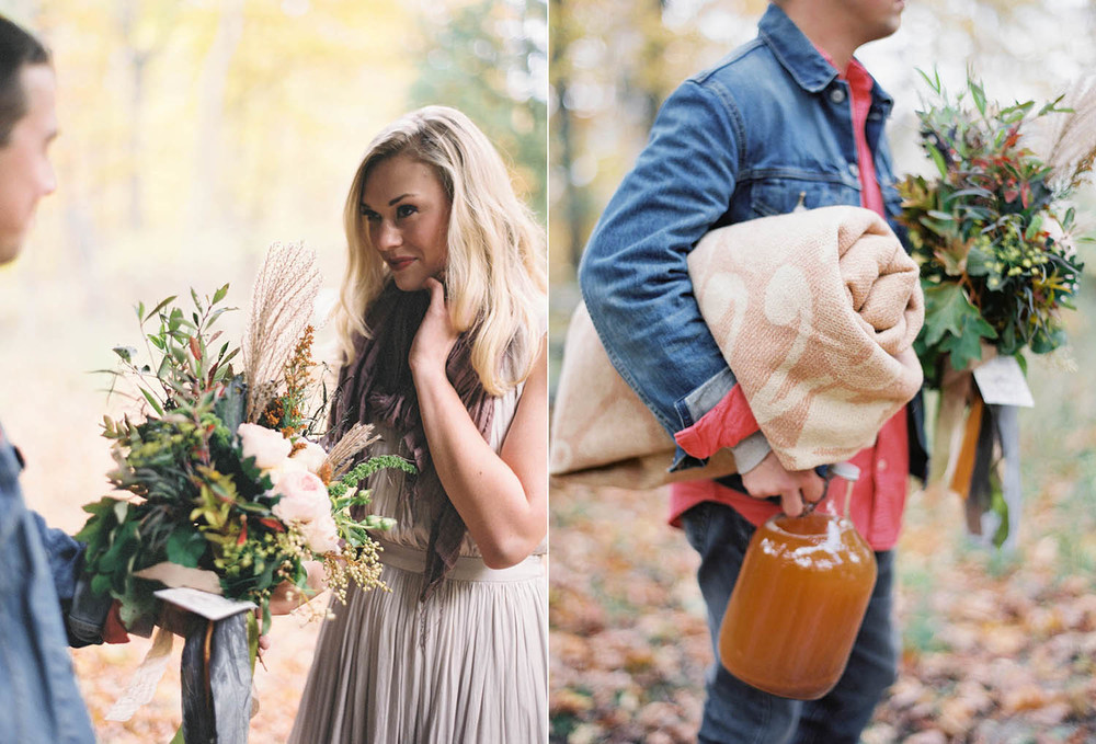 cozy fall engagement picnic