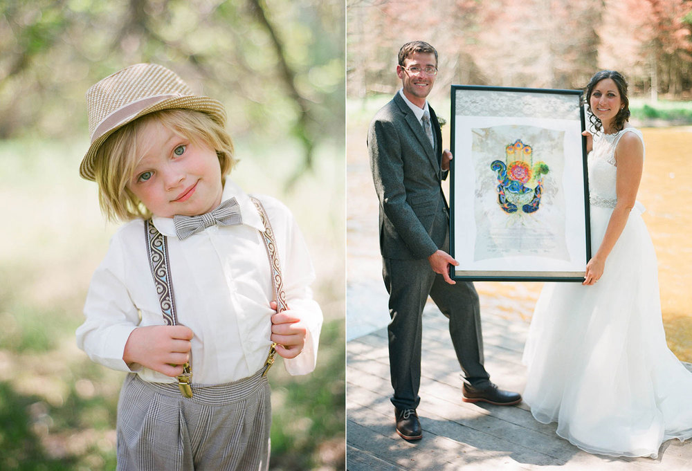 framed guestbook and cute ringbearer