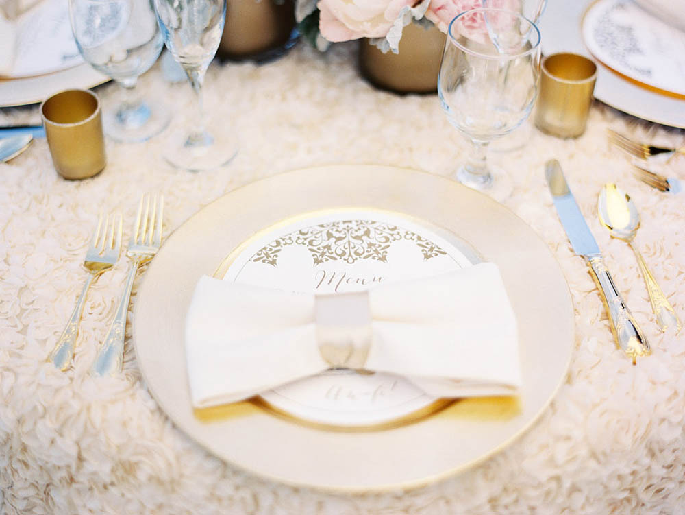textured cream and gold tablescape