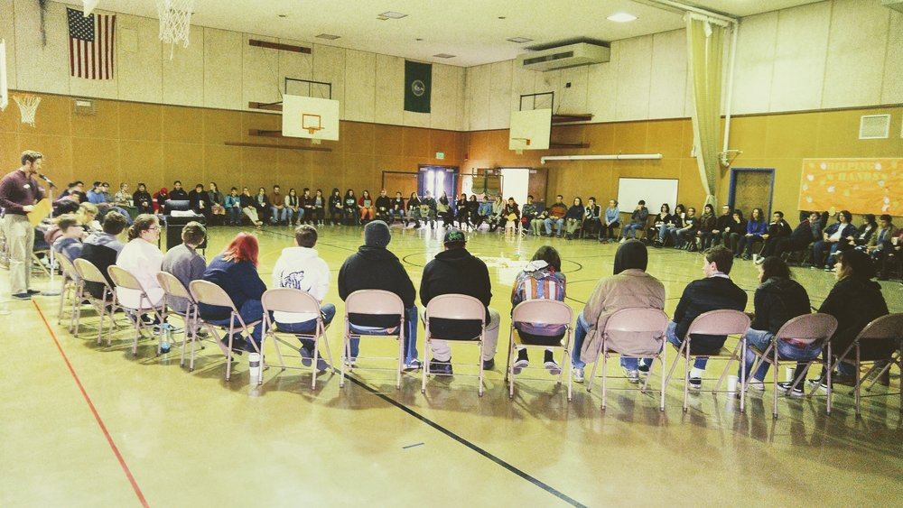 A school-wide restorative circle at Windward High School. Photo courtesy of daniel soloff.