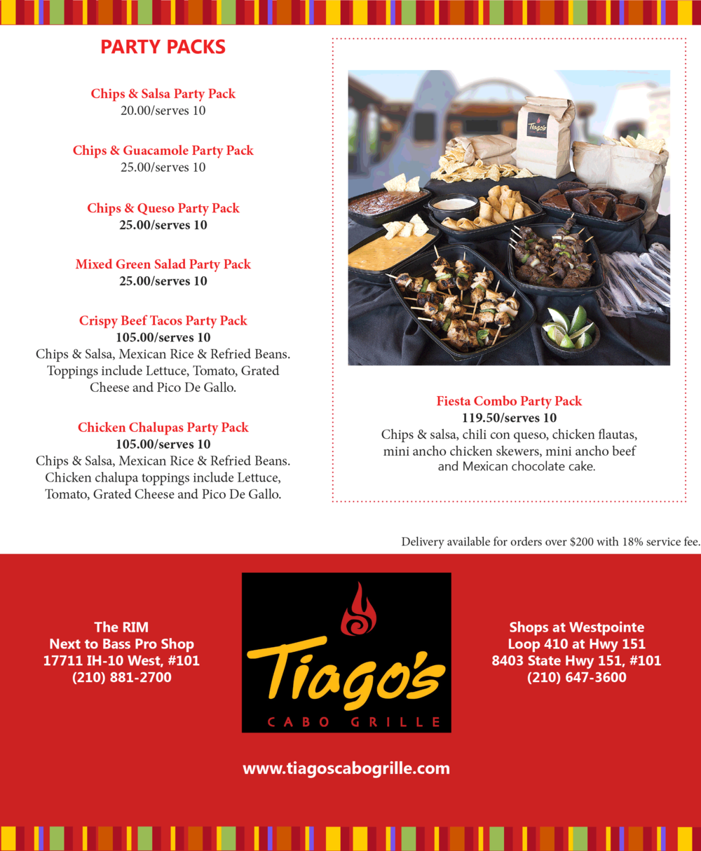 Tiago's Catering Party Packs
