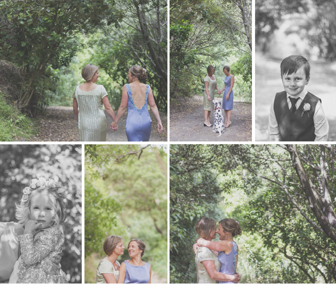 Natural portraits of Bride and Bride and their kids, in the green woods of Mt Victoria, Wellington.