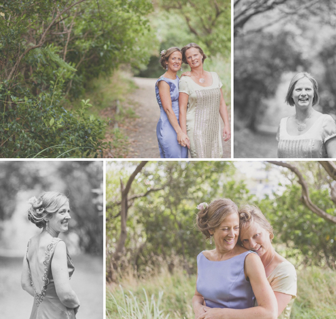Natural portraits of bride and bride in the green woods of Mt. Victoria, Wellington.