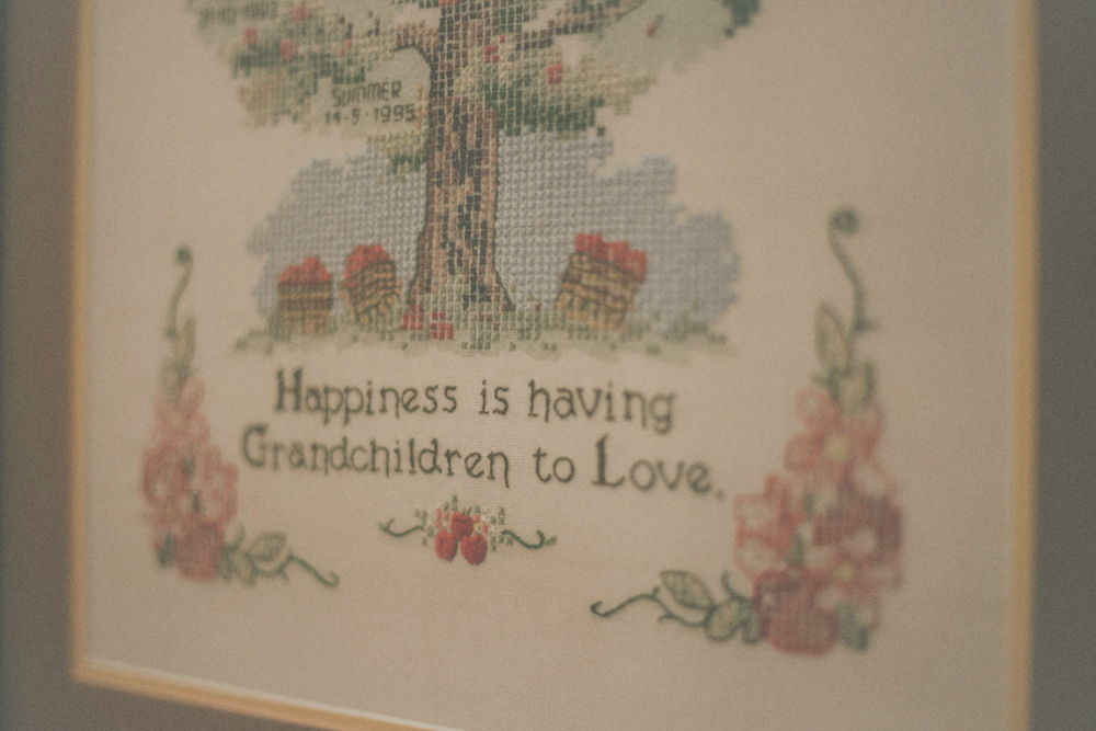 "Embroidery, art work "" hapiness is..."""