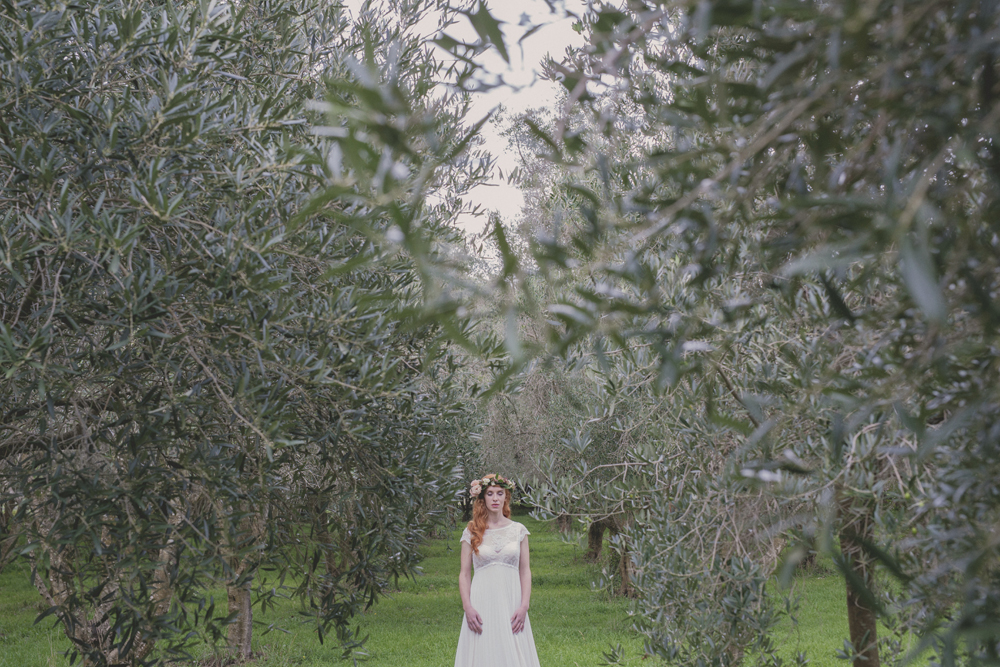 Johanna Hehir Bridal collection sneak peek. Wedding portrait in Olive Grove.