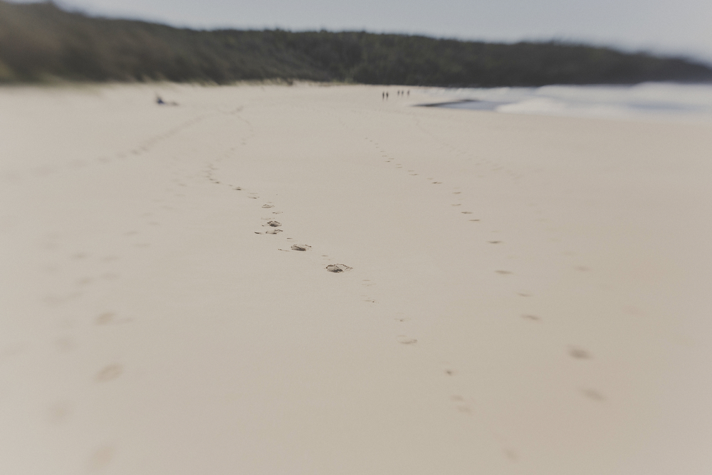 Footsteps in sand on isolated beach. Photos of holiday in the Sunshine Coast. Australia.