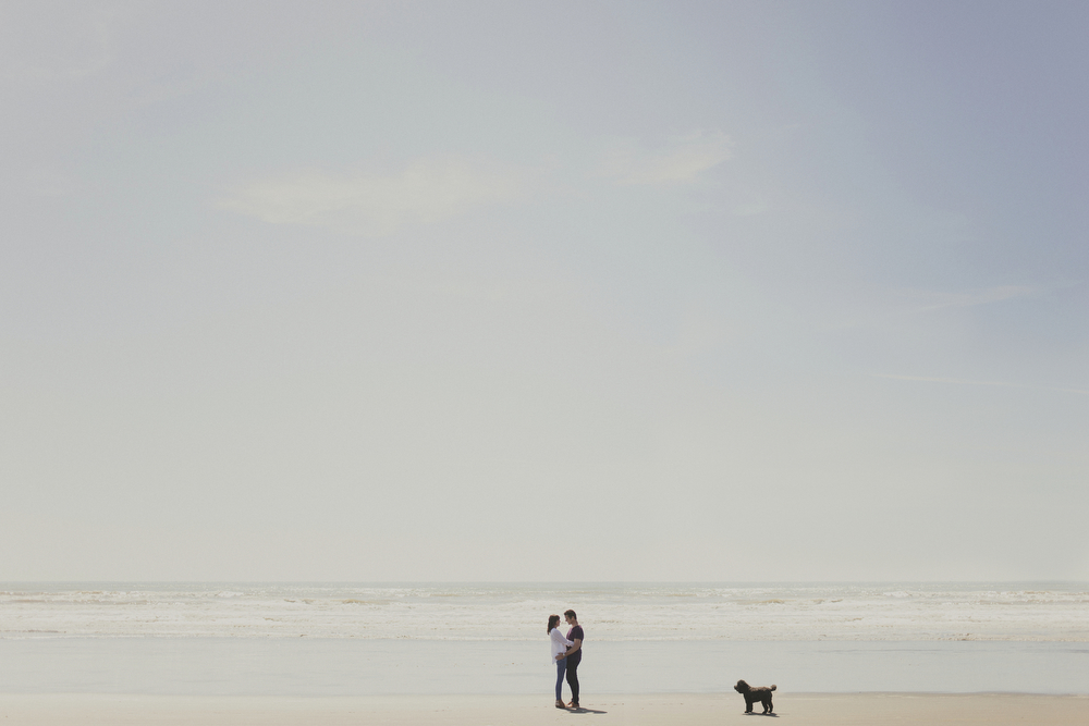 40mm, minimal style photo of couple embracing, as dog watches on. Engagement session on beach in Kapiti, NZ.