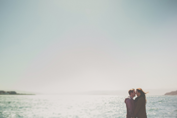 Sam and Chris's engagement session by the waterfront in Wellington city.