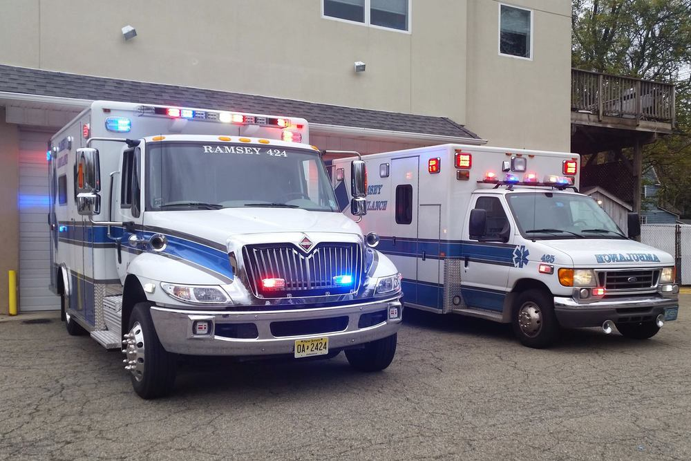 Ambulance 424 - Shown on the left, a 2015 International 4300 with a MaxxForce DT engine and an Allison transmission. 424 was built by Horton Emergency Vehicles and delivered in September of 2014 by VCI Emergency Vehicle Specialists.