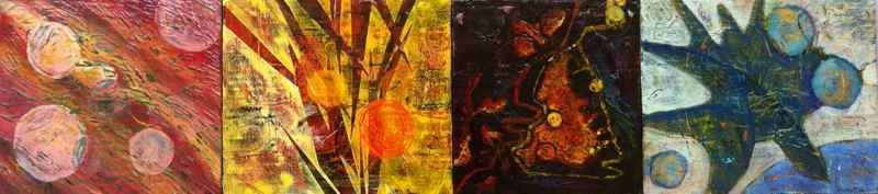 The Four Humors of Tinicum, 2012, polyptych, oil on wood panels. 60.7X14 cm.