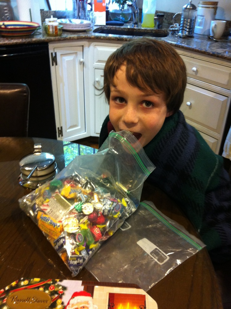 "Aunt Teri sent a pile of chocolates. Paddy said ""God bless Aunt Teri."""