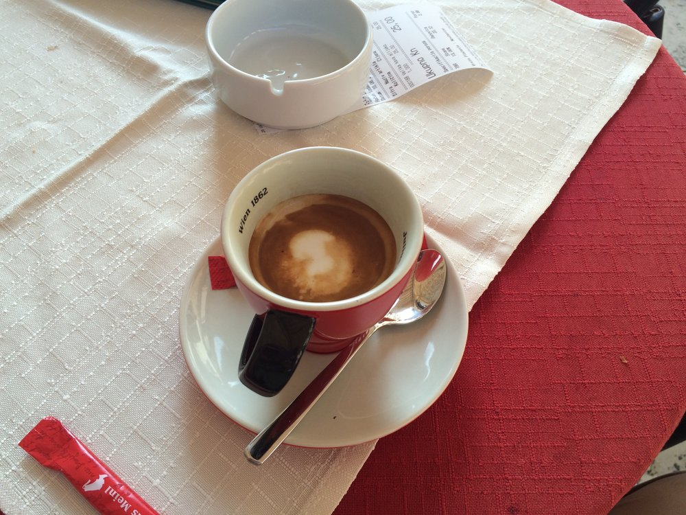 Cafe macchiato from Cafe Festival, Dubrovnik Croatia, 10 August 2016, 8:34 AM. All is good in the world.