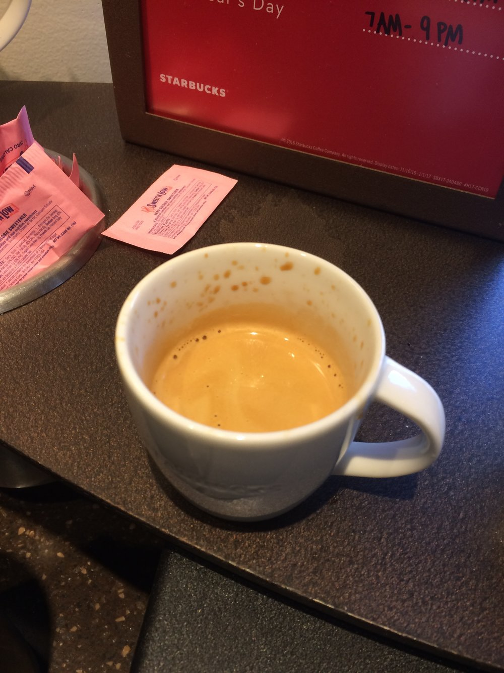 Dulpo espresso at Starbucks.