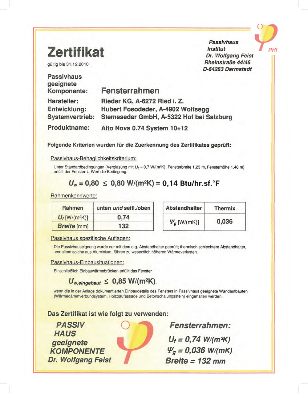 Passive house window certificate