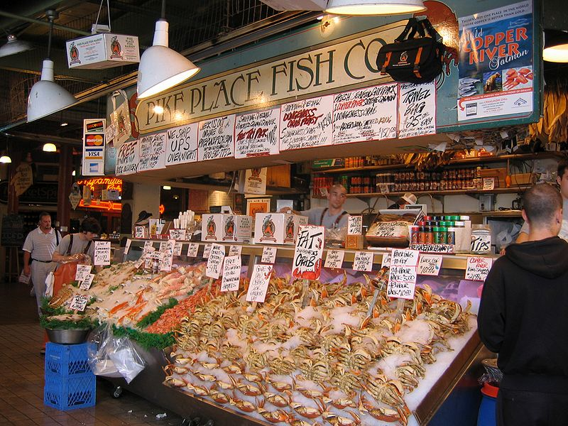 Pike Place Fish Market at the Pike Place Public Market in Seattle, Washington