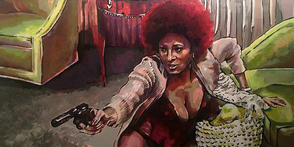 """I've Got a Sister"" -Coffy   Acrylic on Wood 24x12    In the opening scene of Coffy, Pam Grier bares her breasts and blows a man's head off. Playing a gun-toting vigilante, she was the queen of blaxploitation films in the 70's. Her characters owned their sexuality and used it to further their agendas. Pam Grier attached a political voice to sexuality for women, fusing feminism and Black Nationalism with vigilante justice.    Coffy is not a superhero. Clumsy and real, she wants to rid her community of the dope pushers who are responsible for her little sister's drug addiction, using her brains and her body to get close to the criminals who prey on the black community. Rape, racism and revenge in Coffy make today's movies look puritanical- Pam Grier brings power and humanity to her ass kicking roles."