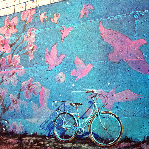 """Bird, Blossom, Bike"" -Vancouver, Railtown"