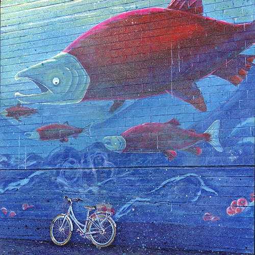 """Salmon Run, Salmon Cycle"" -Vancouver, Railtown"