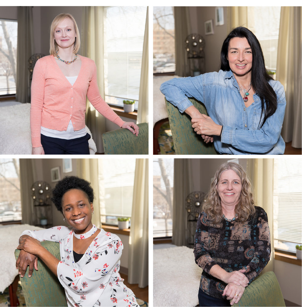 Clockwise from top left: Sarah Breedlove, movement therapist; Angelica Bustamante, myofascial release therapist; Laura Christine, A Simple Detox manager; and LaShonda Brown, BodyTalk practitioner provide wellness therapies at Midwest Myofacial Release Center.
