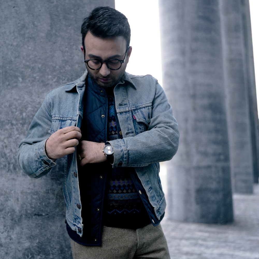 Jacket: Vintage Levis  Puffer Vest Frank & Oak  Sweater: Van Gils Watch Triwa