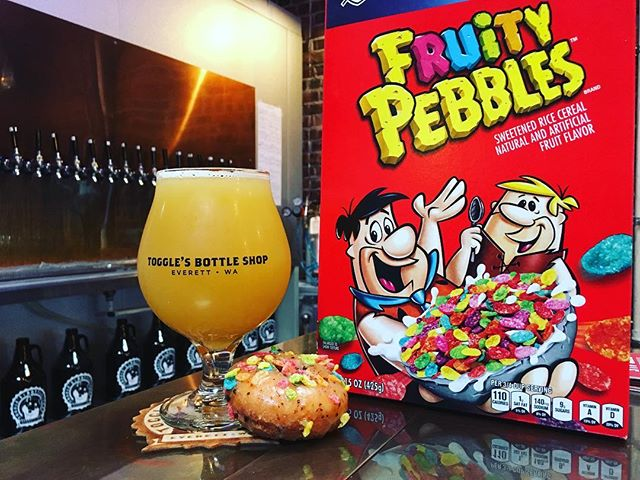 "We're @togglesbottleshop for the prerelease of ""Fruity McBruty"" (Brut IPA, brewed with Fruity Pebbles & coffee) and delicious dounuts from @karlsbakery."