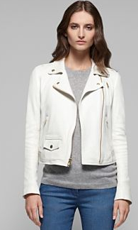 Dress up with the Elenian White Leather Jacket from Theory