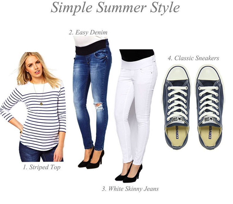 White jeans are essential for summer, and you want ones with a great stretch either under the belly or over the belly (here's a great pair in blue too).  A nautical striped shirt and always fashionable Converse sneakers keep this a classic look and provide pieces you can interchange throughout your nine months.