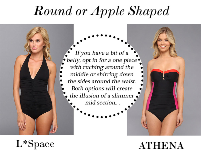 1.  L*Space The Ruched One Piece                                                                 2.  Athena Worth Avenue Bandeau One Piece