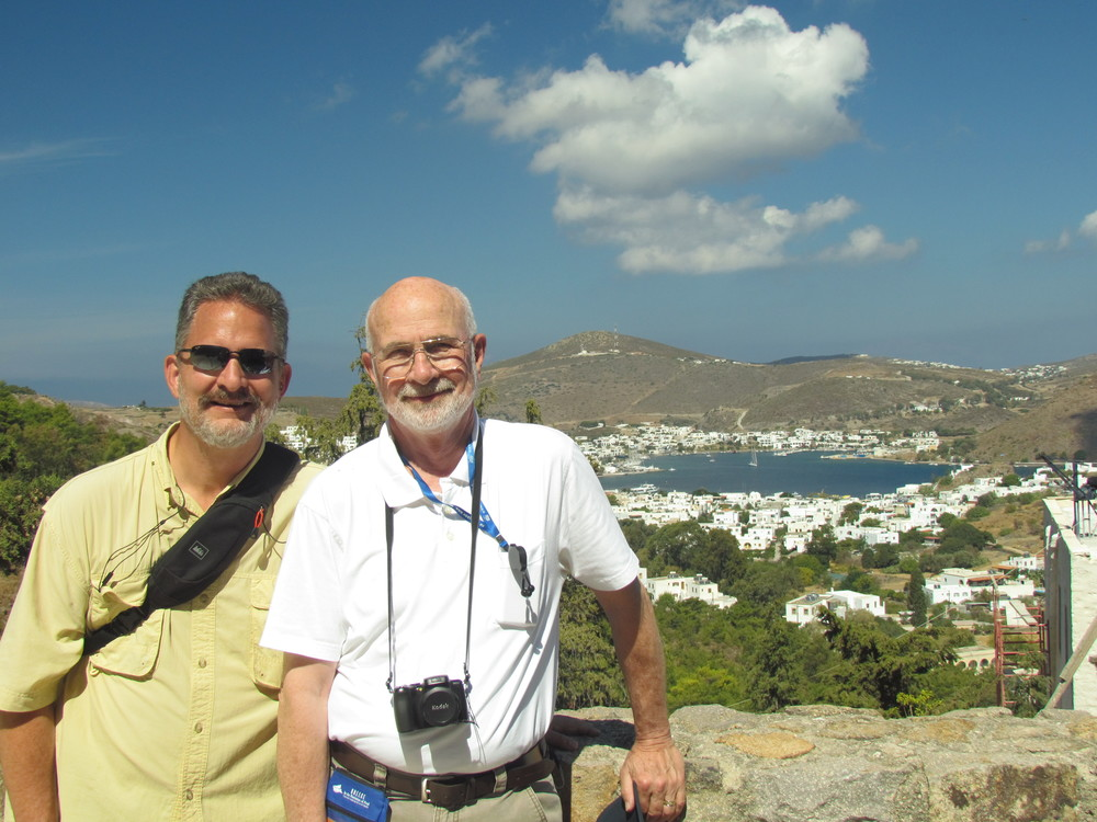 "Me and my father on the isle of Patmos. No, not a ""footstep"" of Paul, but quite moving to be where John wrote ""The Revelation of Jesus Christ""."
