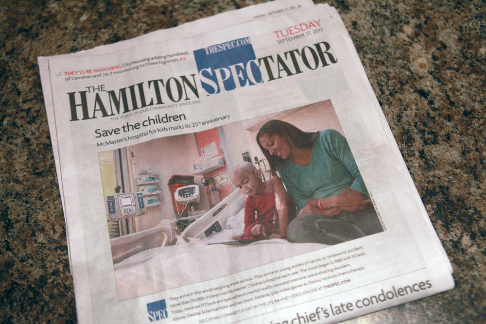 Desiray and Mel made the front cover of the Hamilton Spec.  It was the 25th anniversary for Mac, there was a lot of media coverage that day in the hospital!