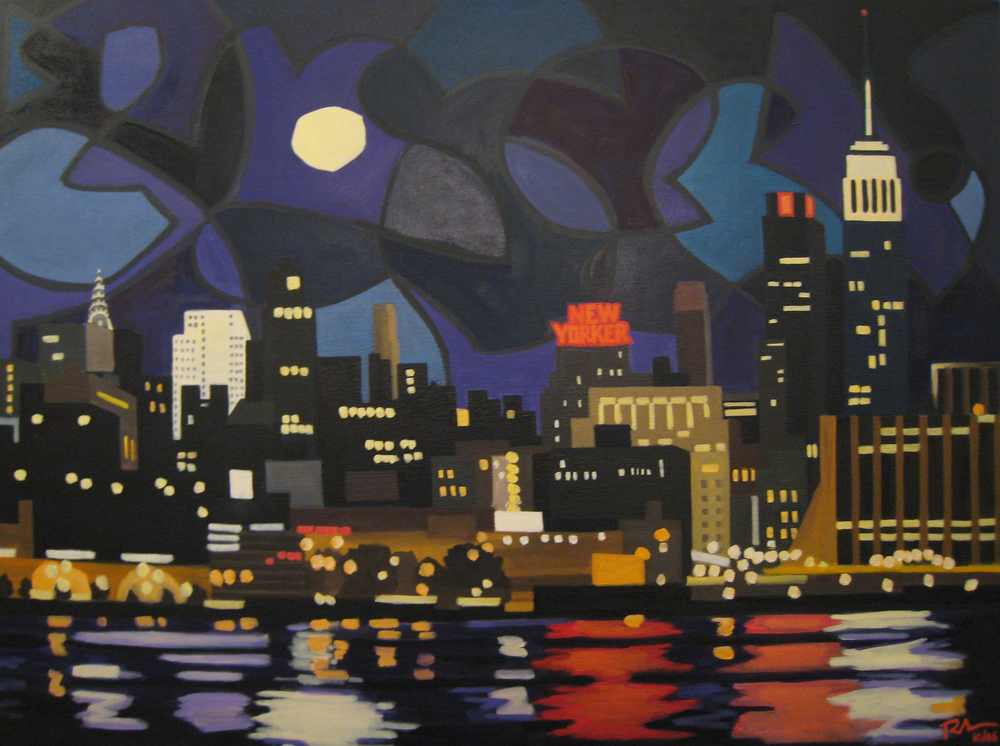 "Moon over NY - oil on canvas - 30"" x 40"" - 2006"