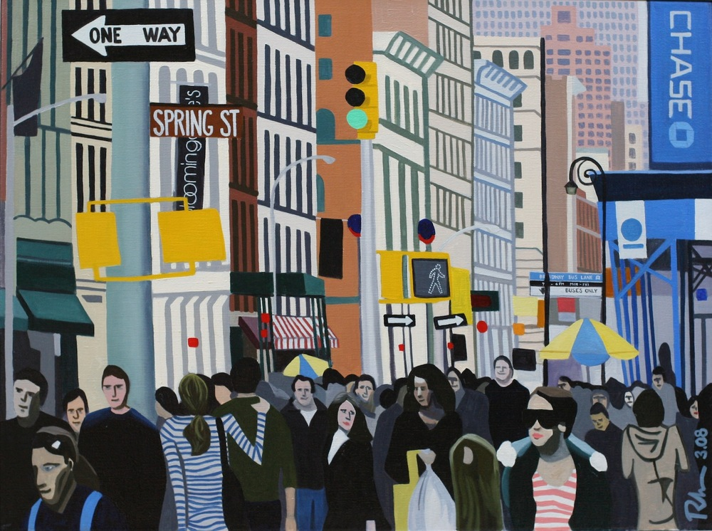 "Spring Street - oil on canvas - 24"" x 32"" - 2008"