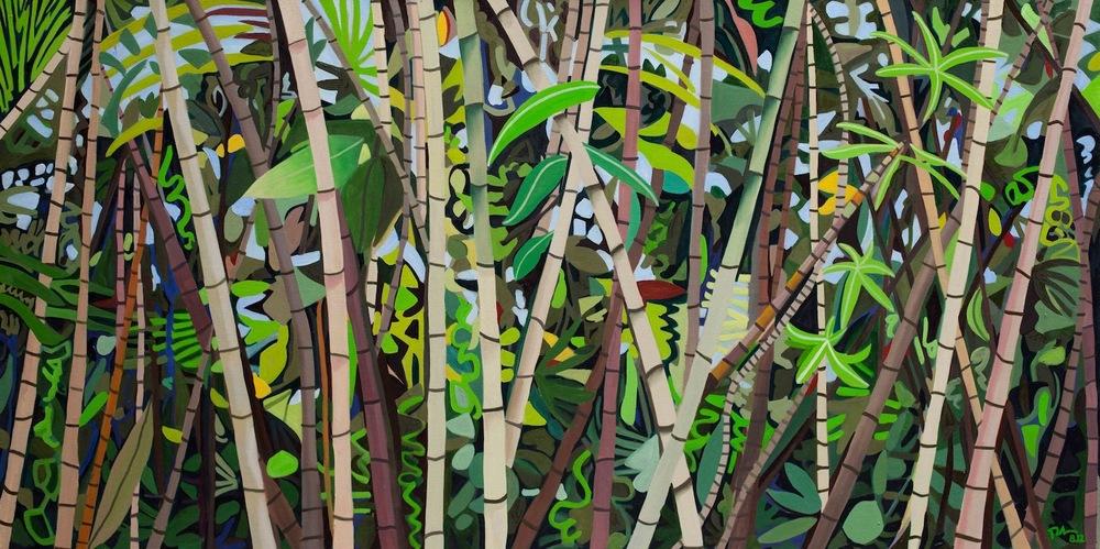 "Hawaiian Bamboo - oil on linen - 40"" x 80"" - 2012"
