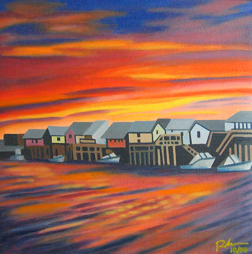 "Tuckerton, NJ Sunset - oil on canvas - 20"" x 20"" - 2004"