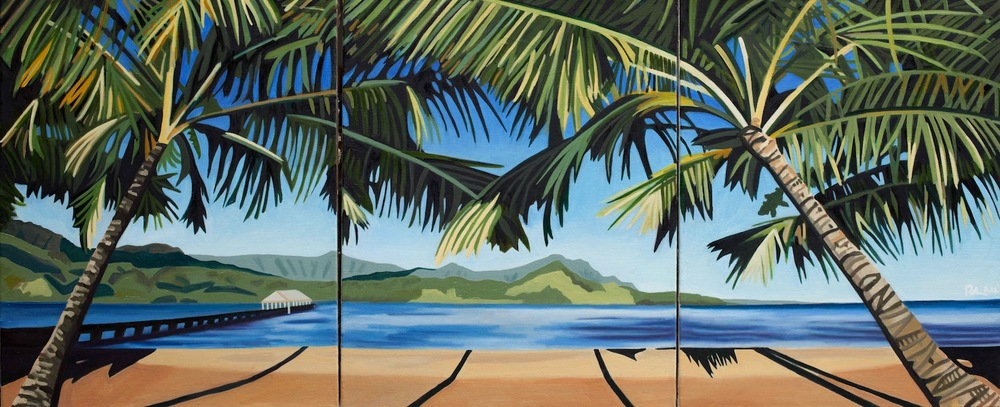 "Hanalei Bay - oil on linen - Triptych - Three 30"" x 24"" canvases - 2012"