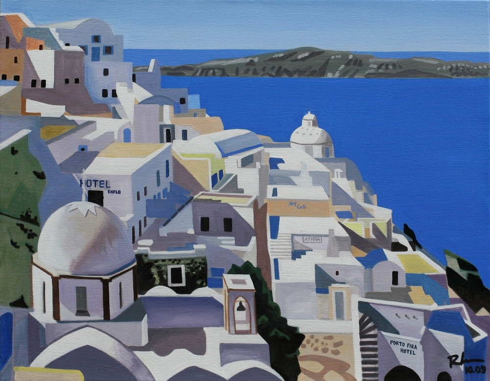 "Santorini - oil on linen - 22"" x 28"" - 2009"