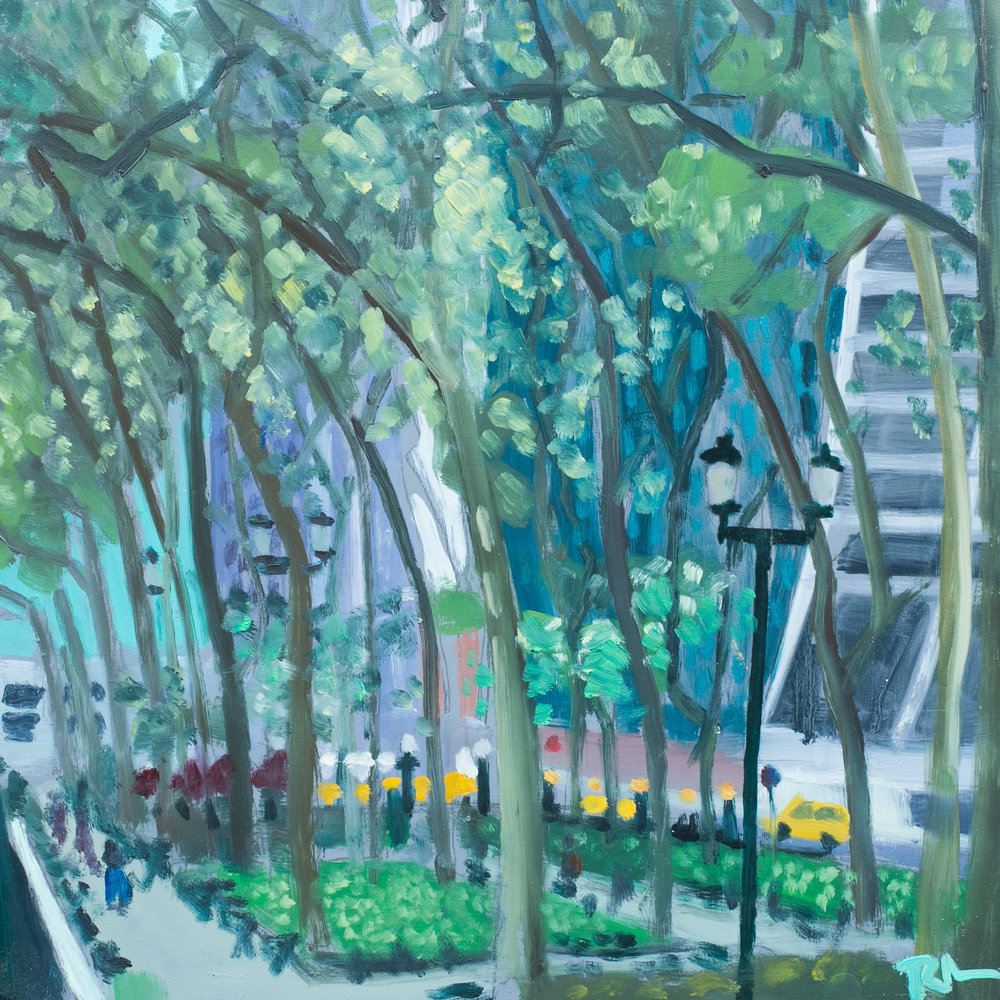 "Bryant Park #3 - May 13, 2016 - 12"" x 12"" - oil on panel"