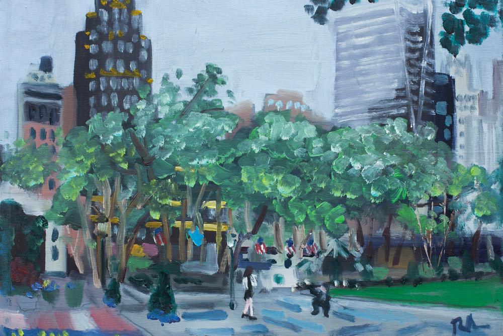 "Bryant Park #4 - May 17, 2016 - 8"" x 12"" - oil on panel"