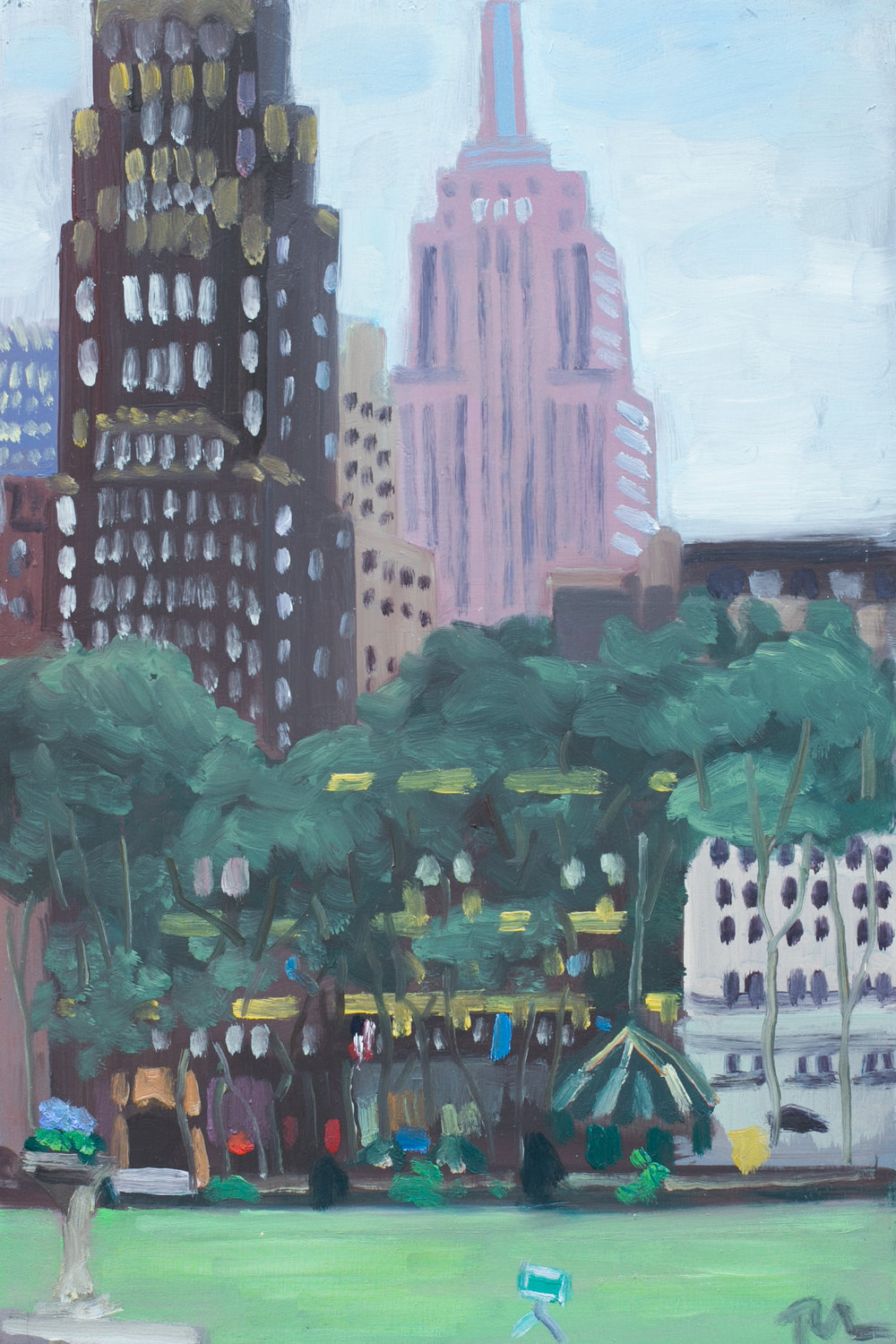"Bryant Park #9 - May 27, 2016 - 12"" x 8"" - oil on panel"
