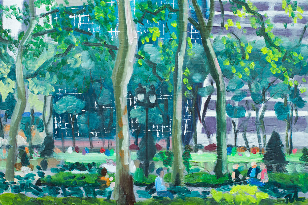 "Bryant Park #10 - May 31, 2016 - 8"" x 12"" - oil on panel"
