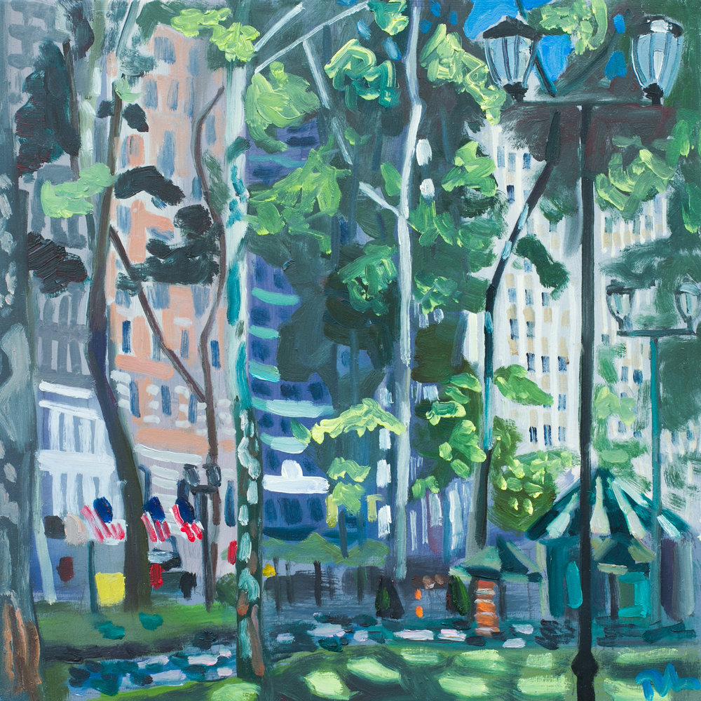 "Bryant Park #11 - June 1, 2016 - 12"" x 12"" - oil on panel"