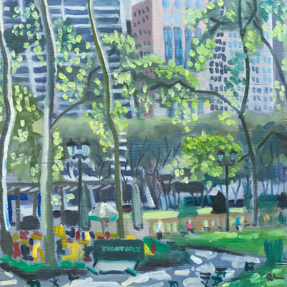 "Bryant Park #12 - June 2, 2016 - 12"" x 12"" - oil on panel"