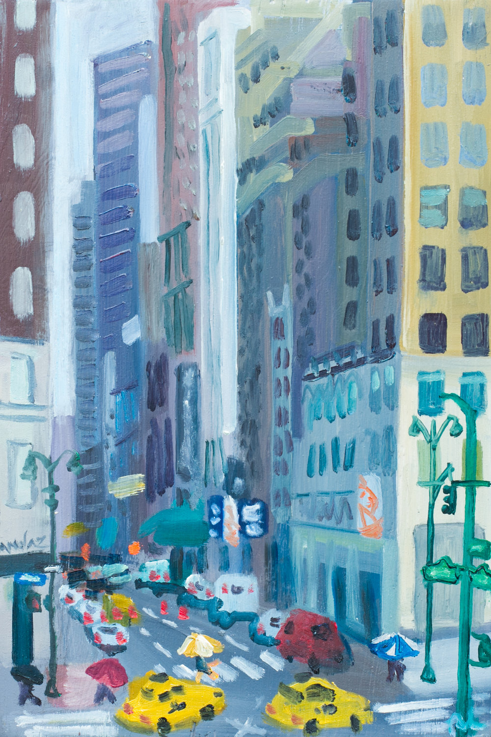"Bryant Park #13 - June 3, 2016 - 12"" x 8"" - oil on panel"