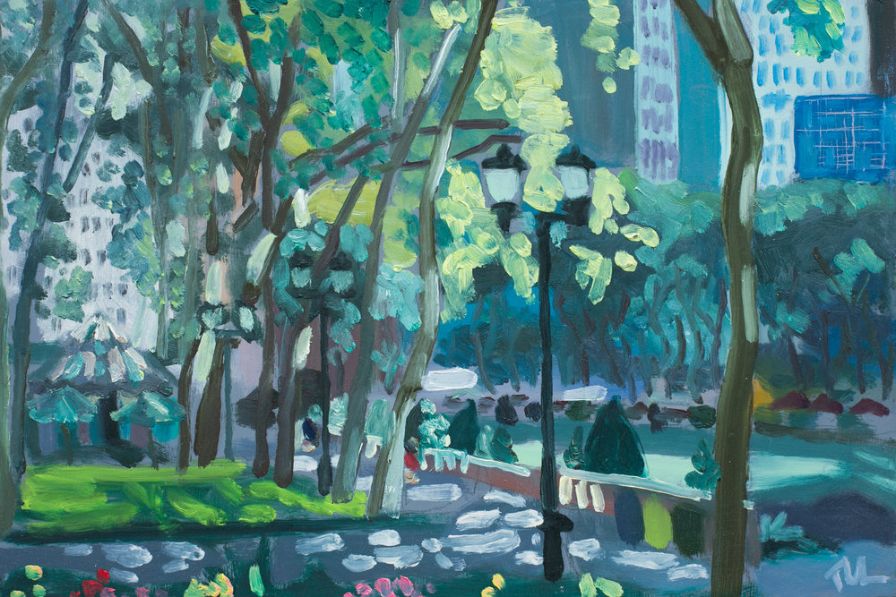 "Bryant Park #14 - June 9, 2016 - 8"" x 12"" - oil on panel"