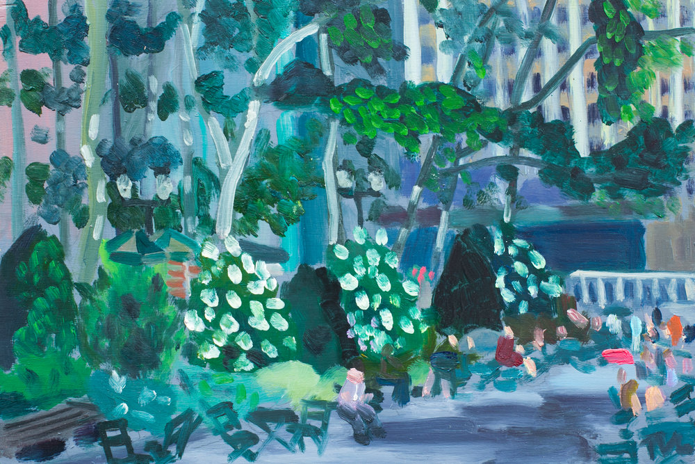 "Bryant Park #15 - June 14, 2016 - 8"" x 12"" - oil on panel"