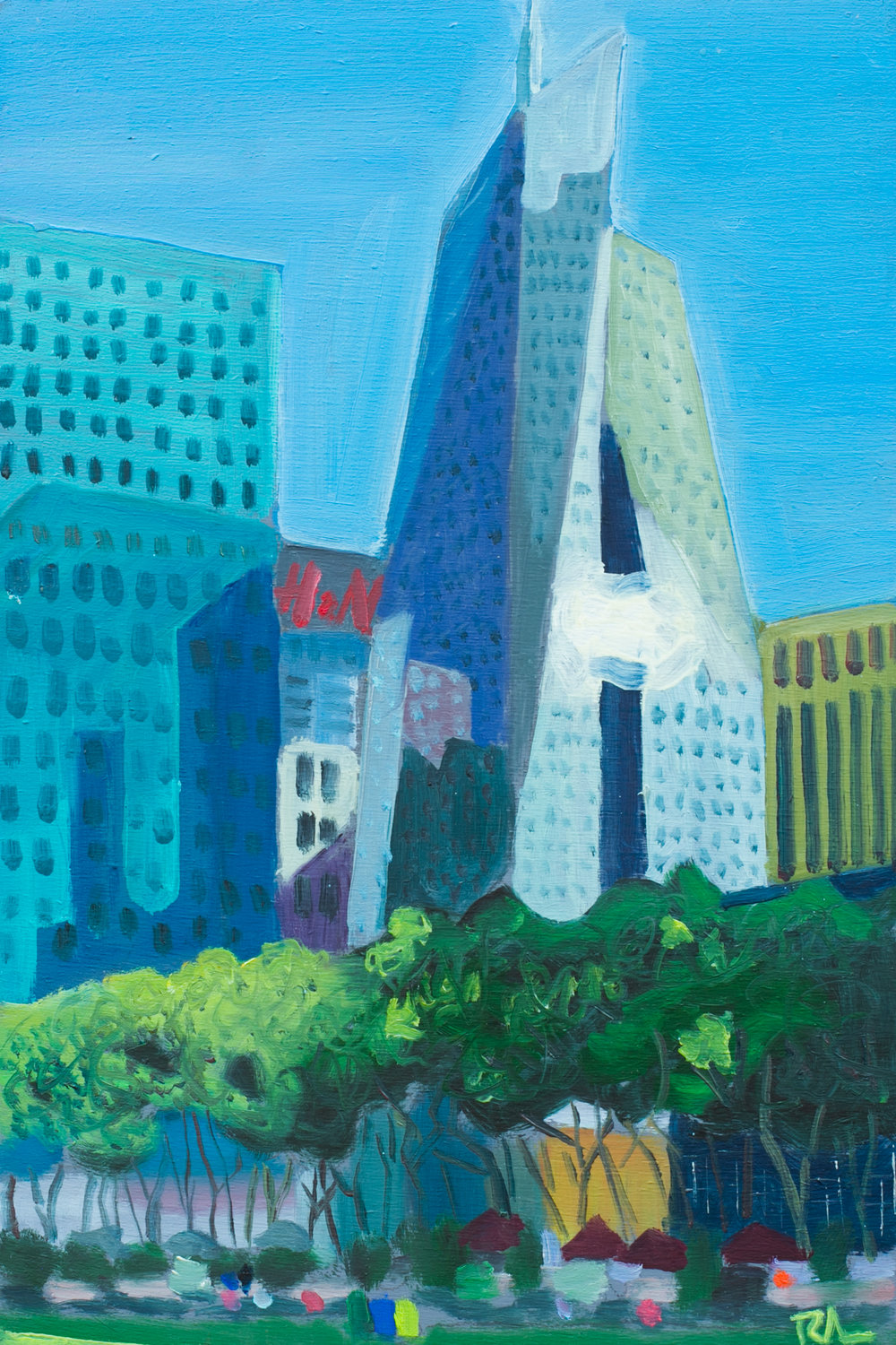 "Bryant Park #16 - June 16, 2016 - 12"" x 8"" - oil on panel"